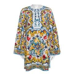 Dolce and Gabbana Majolica Printed Cotton Bell Sleeve Kaftan Dress S