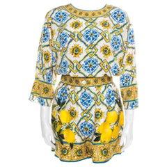 Dolce and Gabbana Majolica Printed Silk Top and Shorts Set S