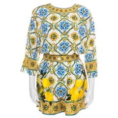 Dolce and Gabbana Majolica Printed Silk Top and Shorts Set S