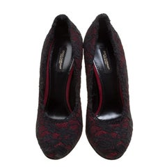 Dolce and Gabbana Maroon Satin and Chantilly Lace Pumps Size 38