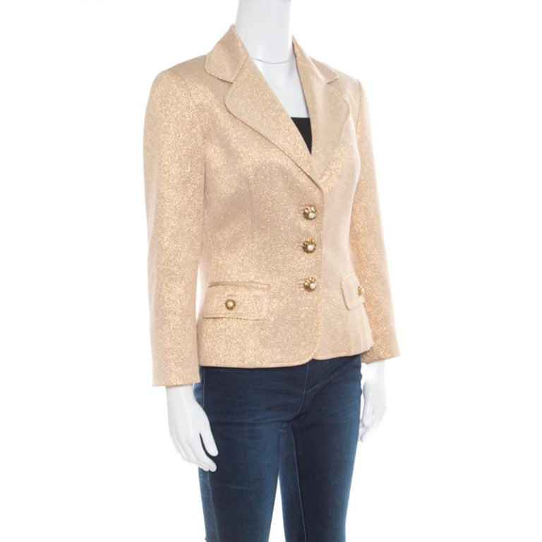 Dolce and Gabbana Matte Gold Cloque Faux Pearl Embedded Button Front Blazer M In Good Condition For Sale In Dubai, Al Qouz 2