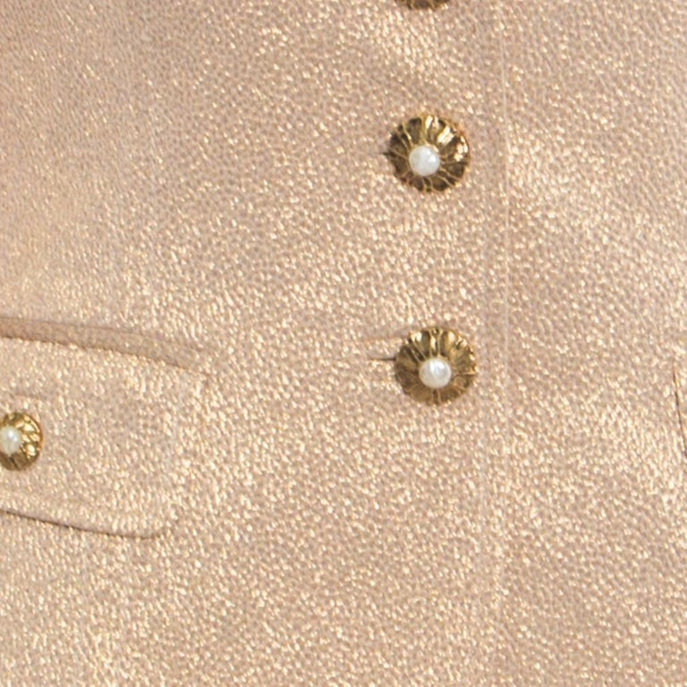 Women's Dolce and Gabbana Matte Gold Cloque Faux Pearl Embedded Button Front Blazer M For Sale