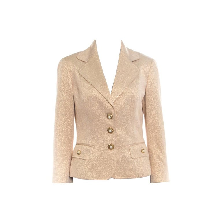 Dolce and Gabbana Matte Gold Cloque Faux Pearl Embedded Button Front Blazer M For Sale