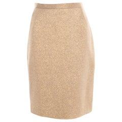 Dolce and Gabbana Matte Gold Cloque Knit Pencil Skirt M