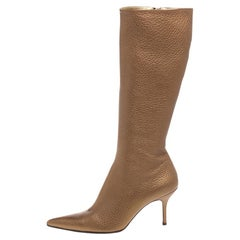 Dolce and Gabbana Metallic Beige Textured Leather Pointed Knee Boots Size 40.5