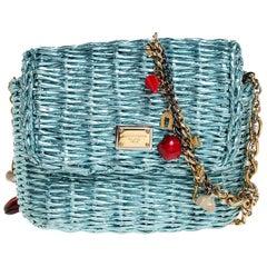 Dolce and Gabbana Metallic Blue Coated Raffia Embellished Chain Shoulder Bag