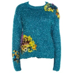 Dolce and Gabbana Metallic Blue Tinsel Rib Knit Floral Applique Sweater S