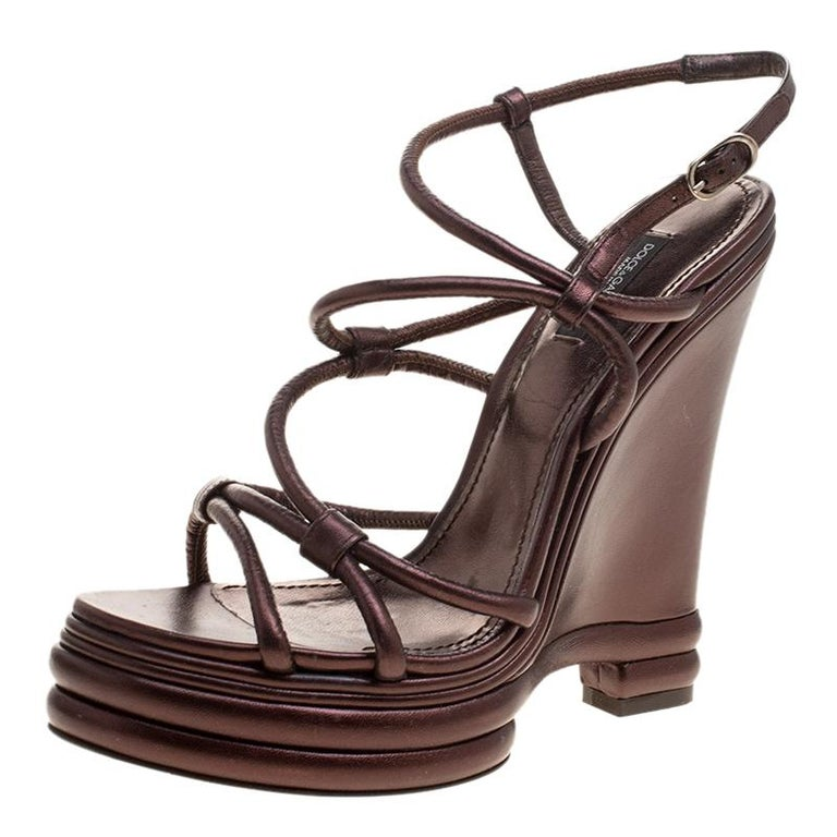 4bb751d2c03 Dolce and Gabbana Metallic Brown Leather Strappy Wedge Sandals Size 40