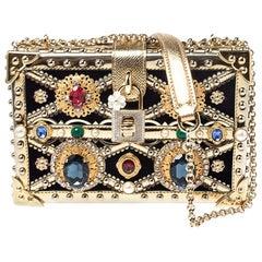 Dolce and Gabbana Metallic Gold Crystal and Velvet Box Pad lad lock Shoulder Bag