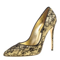 Dolce and Gabbana Metallic Gold Glitter and Black Chantilly Lace Pointed Toe Pum