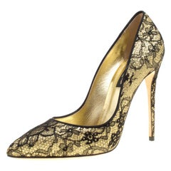 Dolce and Gabbana Metallic Gold Glitter andLace Pointed Toe Pumps Size 36