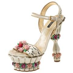 Dolce and Gabbana Metallic Gold/White Ankle Strap Platform Sandals Size 39