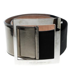 Dolce and Gabbana Metallic Grey Patent Leather Waist Belt 90cm