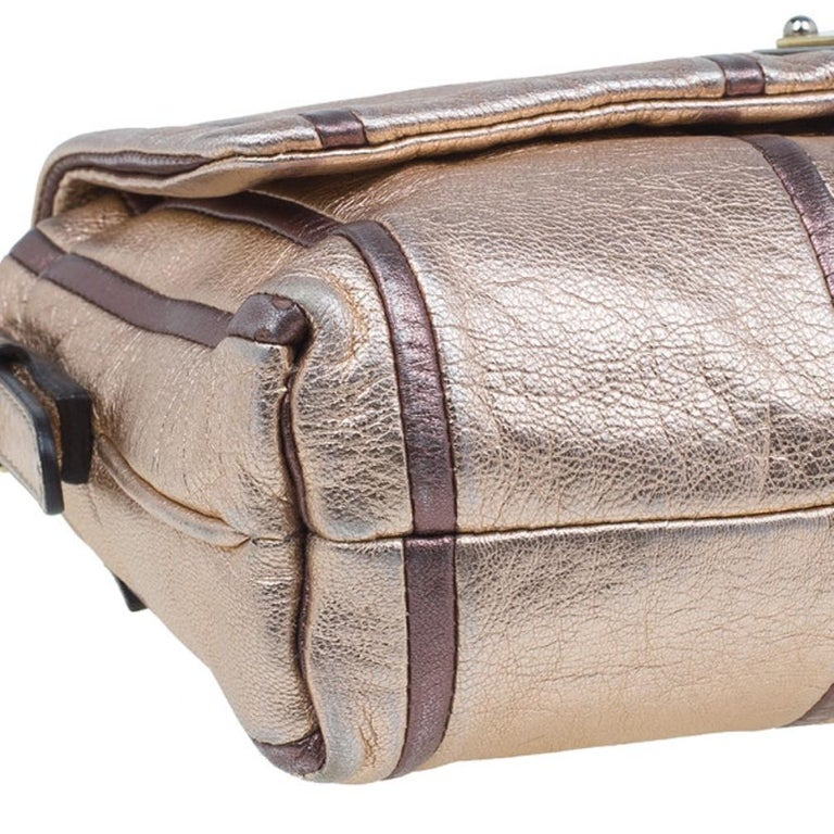 Dolce and Gabbana Metallic Pink Leather Miss Charles Shoulder Bag For Sale 8