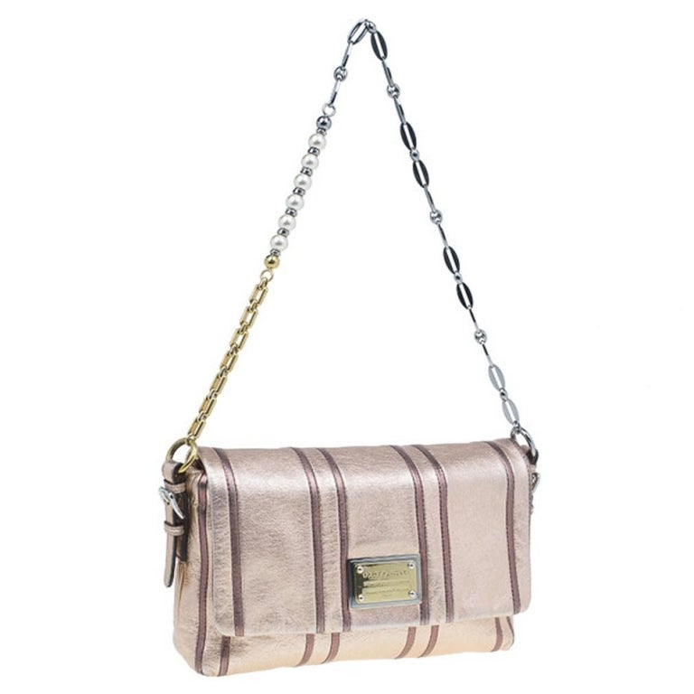 Women's Dolce and Gabbana Metallic Pink Leather Miss Charles Shoulder Bag For Sale