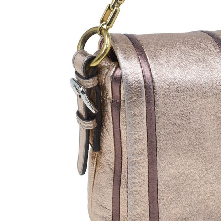 Dolce and Gabbana Metallic Pink Leather Miss Charles Shoulder Bag For Sale 3