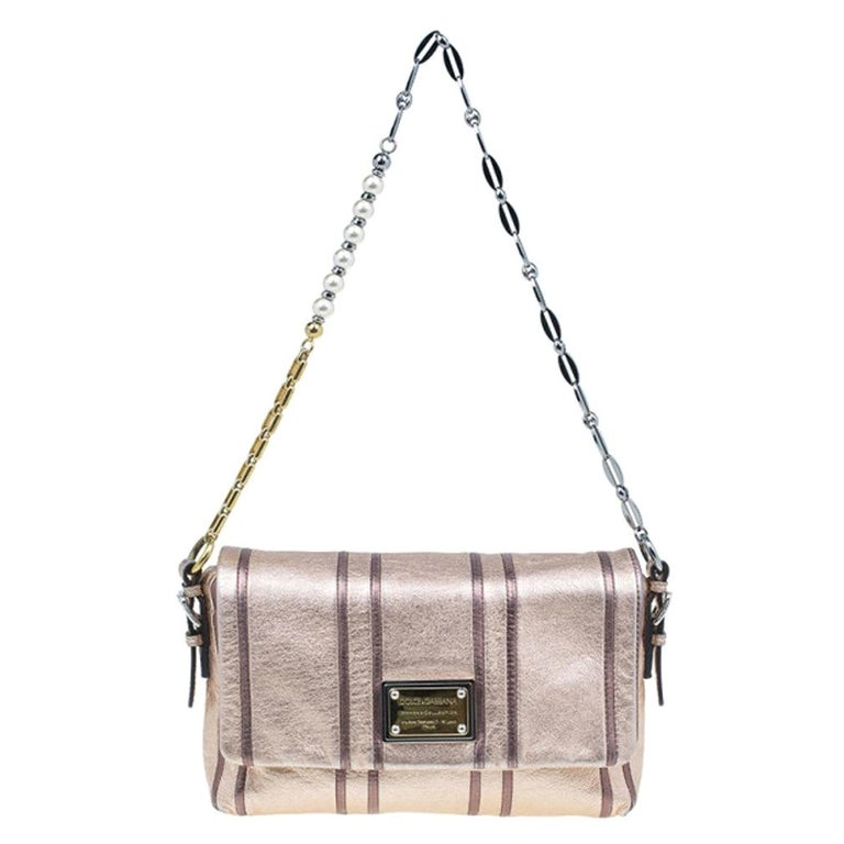 Dolce and Gabbana Metallic Pink Leather Miss Charles Shoulder Bag For Sale