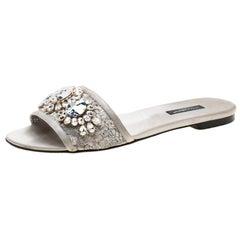 Dolce And Gabbana Metallic Silver Lace Crystal Embellished Flat Slides Size 39
