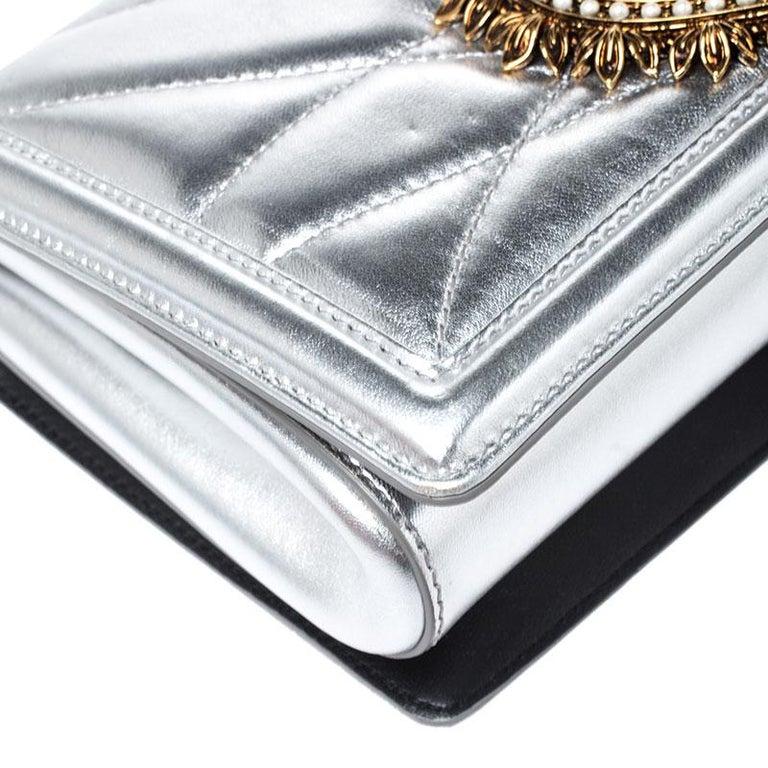Dolce and Gabbana Metallic Silver Leather Medium Devotion Mordore Shoulder Bag 6