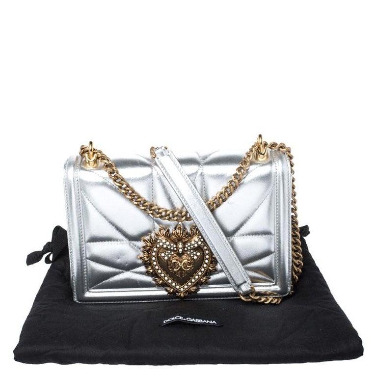 Dolce and Gabbana Metallic Silver Leather Medium Devotion Mordore Shoulder Bag 7