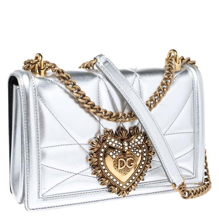 Women's Dolce and Gabbana Metallic Silver Leather Medium Devotion Mordore Shoulder Bag