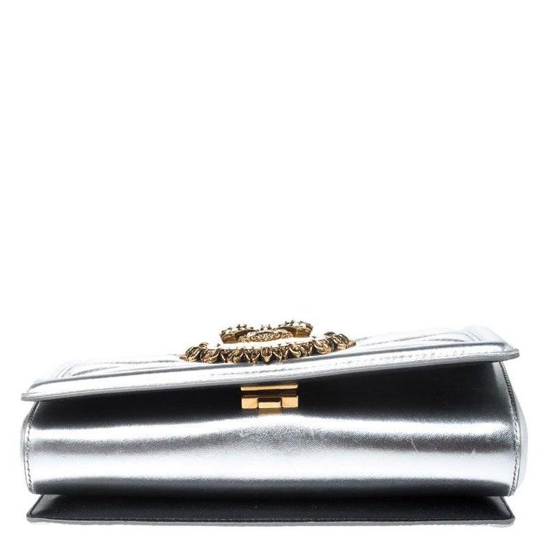 Dolce and Gabbana Metallic Silver Leather Medium Devotion Mordore Shoulder Bag 1