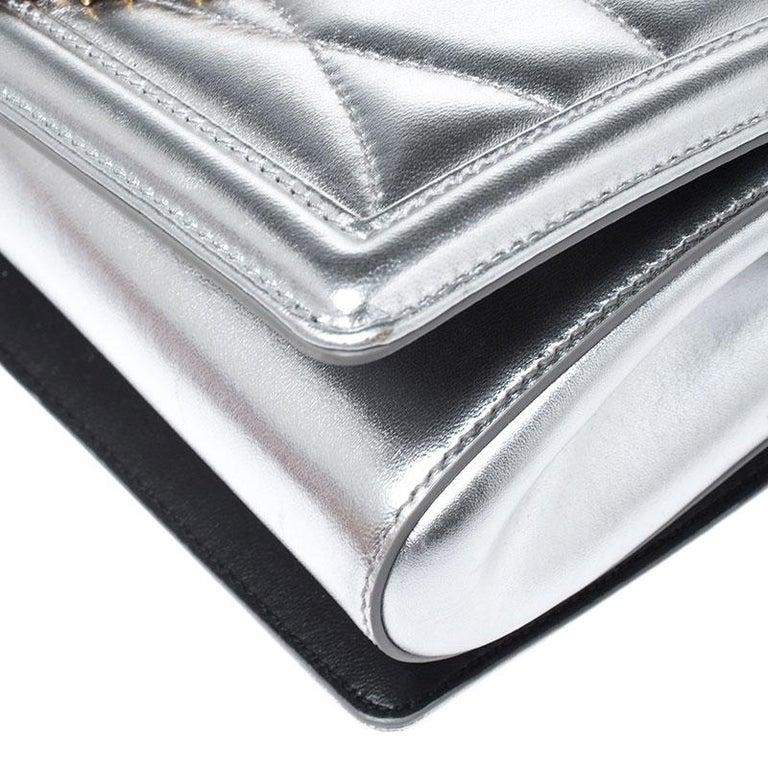 Dolce and Gabbana Metallic Silver Leather Medium Devotion Mordore Shoulder Bag 2