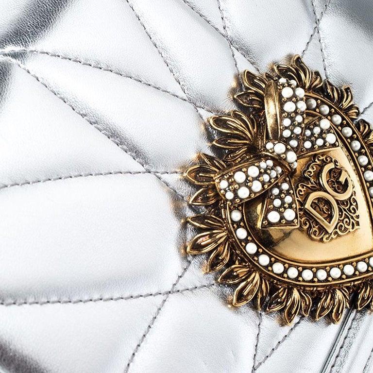 Dolce and Gabbana Metallic Silver Leather Medium Devotion Mordore Shoulder Bag 5
