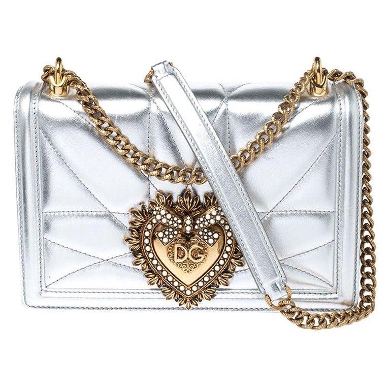 Dolce and Gabbana Metallic Silver Leather Medium Devotion Mordore Shoulder Bag