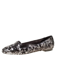 Dolce and Gabbana Metallic Two Tone Sequin Flats Size 40