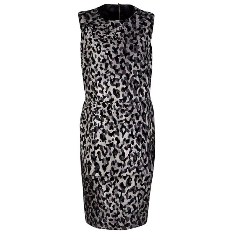 Dolce and Gabbana Monchrome Flock Animal Print Layered Sleeveless Dress L For Sale