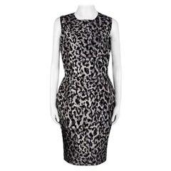 Dolce and Gabbana Monchrome Flock Animal Print Layered Sleeveless Dress L
