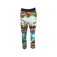 Dolce and Gabbana Mondello Print Elasticized Waist Silk Charmeuse Pants S