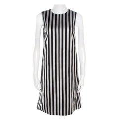 Dolce and Gabbana Monochrome Cotton Silk Striped Shift Dress XS