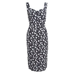 Dolce and Gabbana Monochrome Daisy Printed Crepe Sleeveless Sheath Dress M