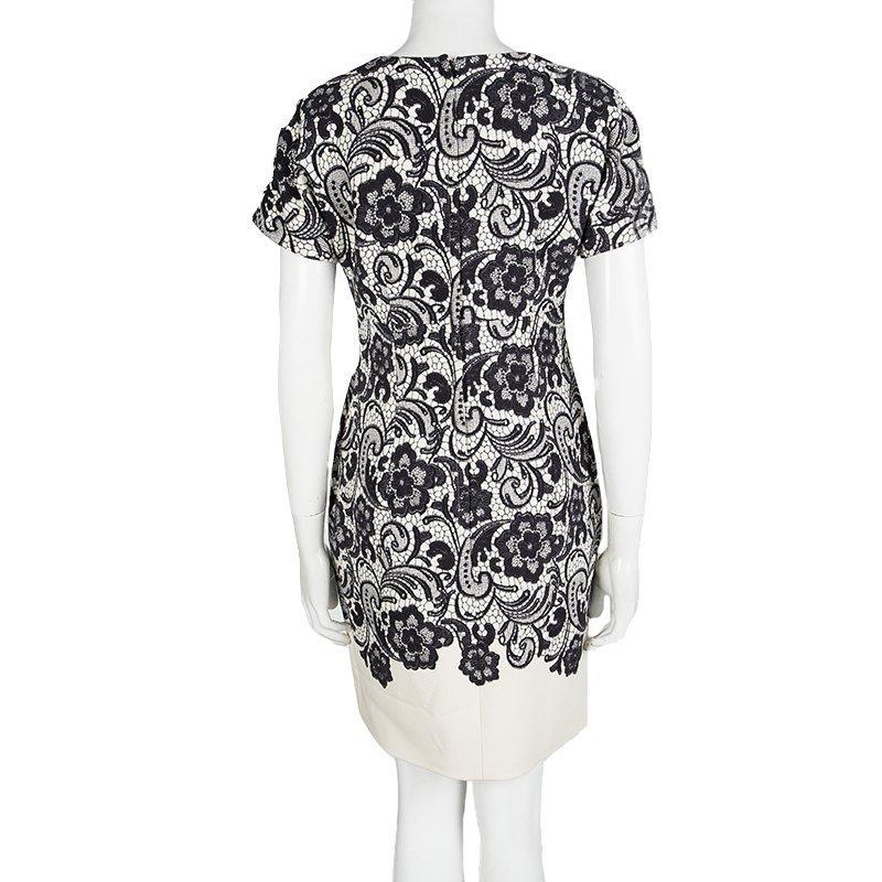 M Print Monochrome Lace Short Dress And Sheath Sleeve Dolce Gabbana HIW9D2E