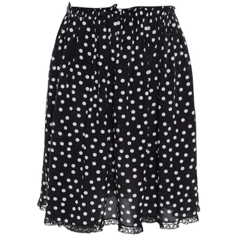 06cc2071b7e55e Dolce and Gabbana Monochrome Polka Dotted Lace Trim Silk Skirt M For Sale