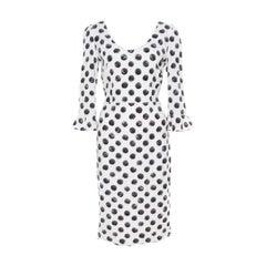 Dolce and Gabbana Monochrome Sphere Printed Midi Dress M