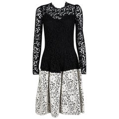 Dolce and Gabbana Monochrome Wool Floral Embroidered Lace Dress S
