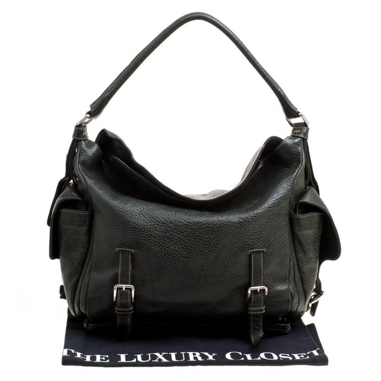 Dolce and Gabbana Mossy Green Leather Miss Forever Hobo For Sale 7