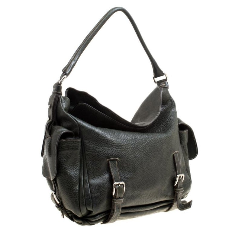 Women's Dolce and Gabbana Mossy Green Leather Miss Forever Hobo For Sale