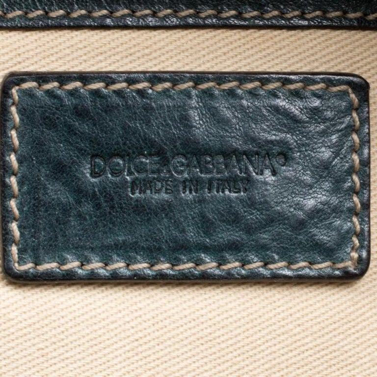 Dolce and Gabbana Mossy Green Leather Miss Forever Hobo For Sale 3