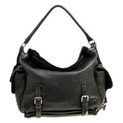 Dolce and Gabbana Mossy Green Leather Miss Forever Hobo