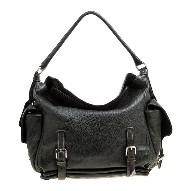 Dolce and Gabbana Mossy Green Leather Miss Forever Hobo For Sale