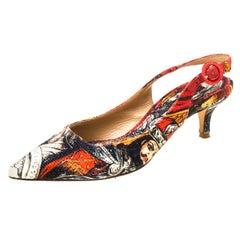 Dolce and Gabbana Multicolor Artistic Print Canvas Slingback Pumps Size 38