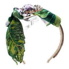 Dolce and Gabbana Multicolor Crystal and Sequin Embellished Headband
