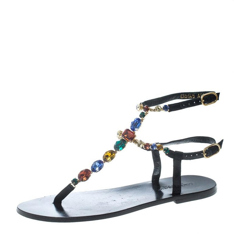 a39b01024 Dolce and Gabbana Multicolor Crystal Embellished Ankle Strap Flat Thong  Sandals For Sale
