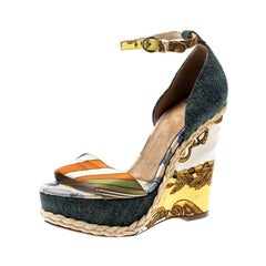 Dolce and Gabbana Multicolor Denim Ankle Strap Platform Wedge Sandals Size 38