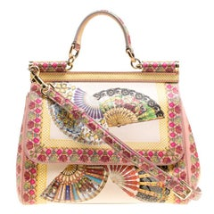 Dolce and Gabbana Multicolor Fan Foulard Printed Leather Medium Miss Sicily Top