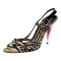 Dolce and Gabbana Multicolor Floral And Leather Trim Strappy Sandals Size 40